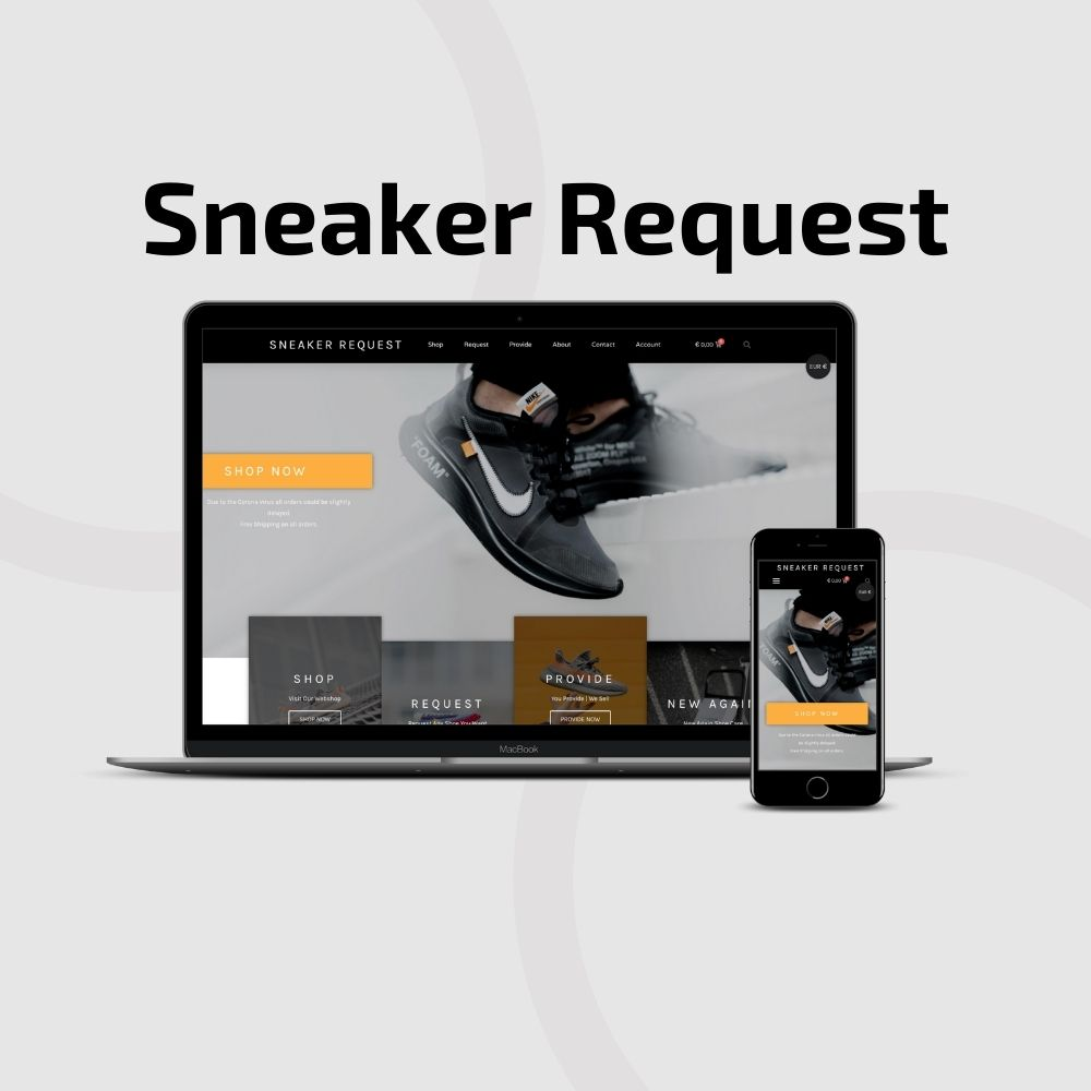 Sneaker Request website by Hageman Webdesign